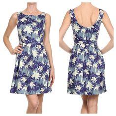 Island print Classic A-line scoop back dress. . www.shopartifactsgallery.com.