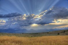 "Why we call it ""Big Sky Country"" in Montana. An evening sun set in late fall by talented photographer: ©Mark Mesenko"