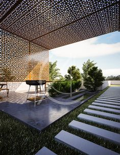 The architecture of this traditional Arabic house design embraces the values of the Islamic tradition, while embracing modernity in its form and function. Terrace Floor, Terrace Garden Design, Rooftop Design, Courtyard Design, Balcony Design, Rooftop Terrace, Patio Design, Exterior Design, Modern Courtyard