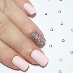 Matte Baby Pink & Pink Holographic Glitter - Short Square False Nails