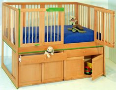 Cot With Storage And Unique Opening Doors To Avoid Back Strain Lifting Heavy Babies Toddlers