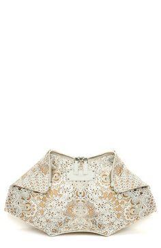 Alexander McQueen 'De Manta' Silk & Leather Clutch available at #Nordstrom