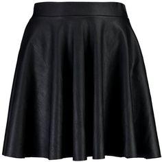 Boohoo Lua Leather Look Full Skater Skirt ($26) ❤ liked on Polyvore featuring skirts, midi skirt, circle skirt, flared skirt, midi circle skirt and pleated maxi skirt