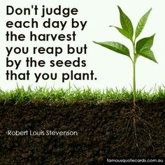 Famous quote card by Robert Louis Stevenson - Don't judge each day by the harvest you reap but by the seeds that you plant. Inspirational Wisdom Quotes, Positive Quotes, Planting Seeds Quotes, Harvest Quotes, Seed Quotes, Too Late Quotes, Plants Quotes, Robert Louis Stevenson, Garden Quotes