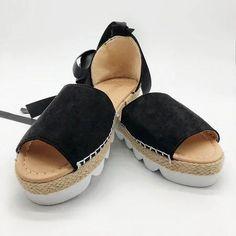 Platform Peep Toe Lace Up Spring Summer Sandals – narachic Beach Wedding Sandals, Summer Sandals, Summer Shoes, Summer Outfits, Leather Sandals Flat, Flat Shoes, Soft Leather Handbags, Block Sandals, Heeled Loafers