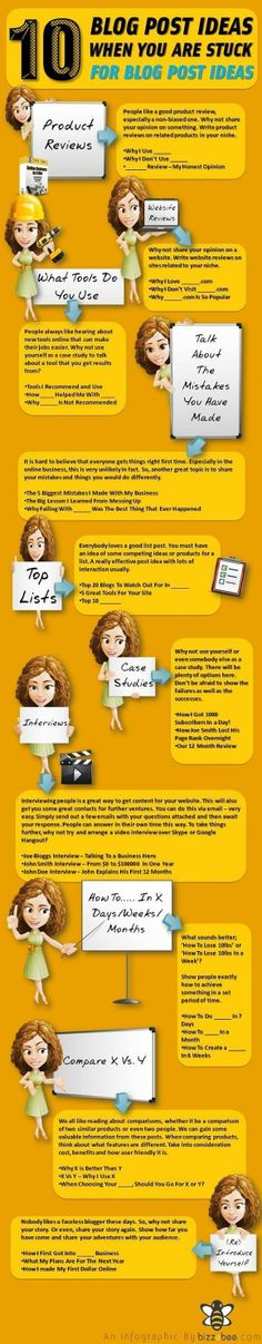 10 Blog post Ideas, When You Are Stuck For Blog Post Ideas - #infographic #blogging