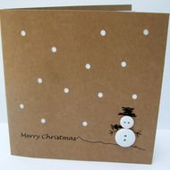 This cute and simple design features a button snowman with a hand drawn hat and arms and a christmas greeting on recycled brown Kraft card. The card has paper cut snow with a white insert showing through. This card is also available in a set of 4 cards... Button Christmas Cards, Simple Christmas Cards, Recycled Christmas Cards, Christmas Card Designs, Button Cards, Christmas Card Crafts, Homemade Christmas Cards, Christmas Fair Ideas, Christmas Hat