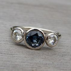 Fair Trade Sapphire, Moissanite, and Recycled White Gold Three-Stone Wedding or Engagement Ring, size 8 Jewelry Box, Jewelry Rings, Vintage Jewelry, Jewelry Accessories, Jewelry Design, Jewellery, 14k Gold Ring, Gold Rings, Moissanite Rings