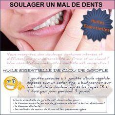 Si vous avez des douleurs dentaires, la première chose à faire est de prendre rendez-vous chez votre dentiste. En attendant votre rendez-vous, voici comment soulager rapidement une douleur dentaire avec l'huile essentielle de girofle. Pour cette astuce contre les douleurs dentaires, vous pouvez aussi utiliser l'huile essentielle de girofle pure sur le coton-tige. L'huile essentielle ...