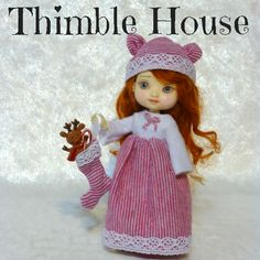 Amelia Thimble Nightgown Handmade Custom Couture: Christmas Dreams   ThimbleHouse - Dolls & Miniatures on ArtFire
