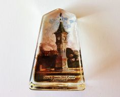 Antique Paperweight Depicting Clock Tower Seafront Exmouth, Vintage Edwardian Paper Weight, Obelisk Glass with Old Photo Picture, England by darcyelizavintage on Etsy