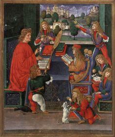 Massimiliano a scuola, Milano, Biblioteca Trivulziana, Gian Pietro Birago(?),1496-1499
