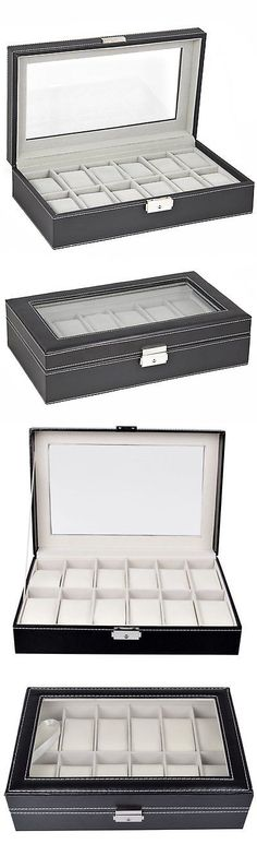 Watch 168164: Large Watch Box 12 Mens Black Leather Display Glass Top Jewelry Case Organizer -> BUY IT NOW ONLY: $30.34 on eBay!
