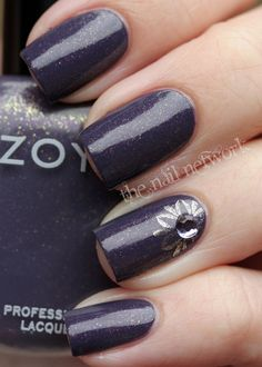 Purple and Gold Nail Art - pinning more for the polish color, which is Zoya's Neeka