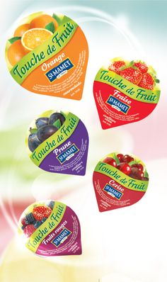 Touche de fruit Food Packaging Design, Brand Packaging, Cup Design, Label Design, Yogurt Packaging, Fruit Logo, Mini Things, Food N, Jelly Beans
