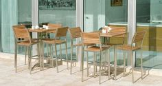 70075 Vogue Bar Stool and Square Bar Table Set constructed of premium Teak Wood & Stainless Steel, All-Weather. Outdoor Bar Furniture, Teak Furniture, Cool Furniture, Industrial Furniture, Westminster Teak, Bar Table Sets, Bar Set, Classic Home Furniture, Wood Bar Stools
