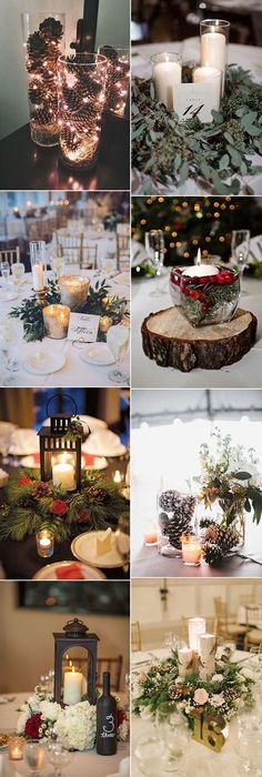New Wedding Winter Centerpieces Diy Christmas Decor Ideas Winter Wedding Centerpieces, Flower Centerpieces, Centerpiece Ideas, Rustic Centerpieces, Elegant Winter Wedding, Rustic Wedding, Trendy Wedding, Wedding Church, Winter Weddings