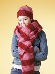 Bold Stripe Beanie and Scarf Set - free pattern, Lion