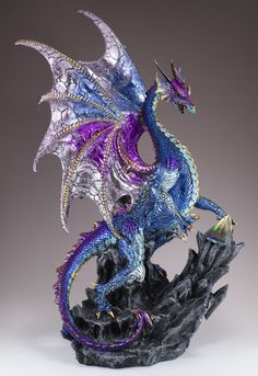 Blue and purple dragon fantasy figurine with glass prism pyramid Height: 16 inches Length: 11 inches Material: Polyresin Note: Ship method may be changed due to oversize box depending on zip code. Fantasy Dragon, Fantasy Art, Small Dragon Tattoos, Mythical Dragons, Polymer Clay Dragon, Fantasy Mermaids, Beautiful Dragon, Dragon Figurines, Dragon Artwork