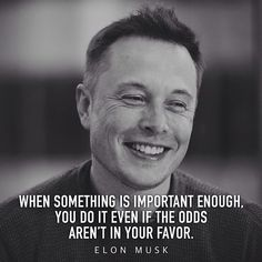 """When something is important enough, you do it even if the odds aren't in your favor."" - Elon Musk"