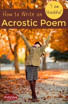 Teaching kids to write a Thanksgiving acrostic poem helps them focus on reasons to be thankful. What a fun way to encourage writing! Teaching Kids To Write, Teaching Poetry, Writing Poetry, Teaching Writing, Writing Activities, Essay Writing, Writing Ideas, Teaching English, Teaching Ideas