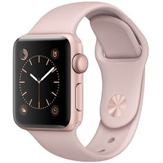 Apple Watch Series 2 38mm Rose Gold-Tone Aluminum Case with Pink Sand... ($369) ❤ liked on Polyvore featuring jewelry, watches, rose gold, stainless steel wrist watch, heart jewelry, rose gold tone jewelry, pink jewelry and sport wrist watch