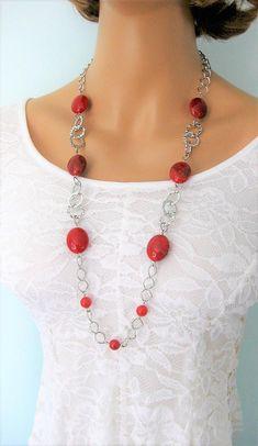 Collier de perles collier Long rouge collier de perles