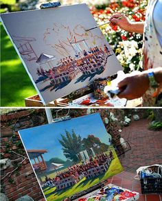 A live wedding painter to capture your ceremony/reception space and your guests