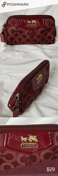 """COACH Op Dot Art Burgundy Cosemetics Bag Brand: Coach  Item: *Very Dark Maroon or Burgundy Optic Art Ashley Makeup Bag *Gold Hardware *Interior Features One Slot which is as Wide as the Bag *Exterior Is in Excellent Pre-Loved Condition, Interior Is Heavily Soiled by Make Up *I Have Not Attempted to Clean the Enterior *Measures 7""""w x 5""""h x 1.5"""" *Very Hard to Find & Rare Line From Coach *Hangtag in Tact *Gold Hardware  *no trades, offers via offer button only* Coach Bags Cosmetic Bags & Cases"""