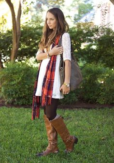 I love these Hanes Tights paired here with cozy tall socks, boots, a short (summery) dress and an awesome plaid scarf - a perfect way to mix spring & fall!