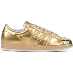 Adidas Originals Low-Tops & Trainers (€140) ❤ liked on Polyvore featuring shoes, sneakers, gold, adidas originals, adidas originals shoes, low tops, flat sneakers and rubber sole shoes
