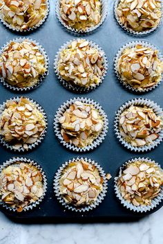 This easy lemon poppy seed muffin recipe gets a healthy boost with almonds and yogurt to make a moist muffin everyone will declare the very best. Granola Bars Peanut Butter, Almond Muffins, Lemon Poppyseed Muffins, Bread Cake, Morning Food, Breakfast Recipes, Breads, Brunch, Almonds