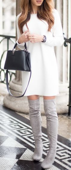 #winter #fashion / knit dress + OTK boots