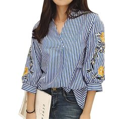 Cheap embroidery top, Buy Quality cotton blouse directly from China blouse fashion Suppliers: Cotton Blouses New Summer Women Shirt Fashion Casual Three Quarter Sleeved Shirt Elegant Loose Striped Floral Embroidery Tops Women Sleeve, Ladies Dress Design, Blouses For Women, Ladies Blouses, Shirt Blouses, Cotton Blouses, Streetwear Clothing, Striped Shirts, Striped Tops