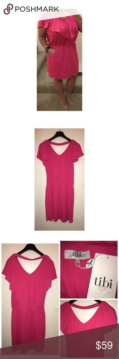 NWT TIBI Dress NWT TIBI Dress. Size Large. Made of 100% Poly. Pink. Pullover style. Cinched/elastic waist. Front pockets. Tibi Dresses