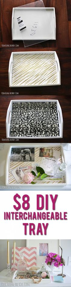 Fun, simple idea: change out the look of a decorative tray with pretty paper, photos or mementos and a sheet of acrylic! Display family photos & mementos in a classy way right where you'll see them.