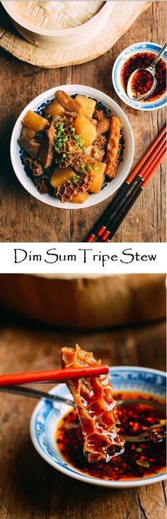 Dim sum tripe stew, or niu za (牛雜), is a weekend dim sum classic. If you grew up this and want to learn to make it at home, give this dim sum recipe a try! Tripe Recipes, Asian Recipes, Beef Recipes, Cooking Recipes, Ethnic Recipes, Asian Foods, Chinese Recipes, Chinese Food, Recipies