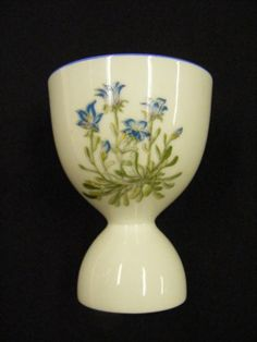 Vintage China Double Egg Cup White with Blue Floral Scene