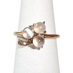 1800s Antique 14K Victorian Moonstone Diamond Ring Shamrock Shaped