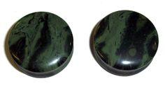 """Genuine organic green eye jasper stone plugs. Double Flared. Available in 8 gauge, 6 gauge, 4 gauge, 2 gauge, 0 gauge, 7/16"""", 13mm (just over 1/2""""), 5/8"""", 3/4"""", 7/8"""", and 1"""".  Sold per pair.  #piercethis2"""