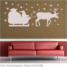 Wandtattoo Weihnachten - Weihnachtsmann mit Schlitten