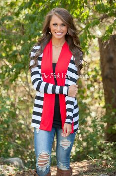 The Pink Lily Boutique - Back To You Black and Red Cardigan, $34.00 (http://thepinklilyboutique.com/back-to-you-black-and-red-cardigan/)