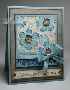 Beautiful Floral Birthday Card...love the watercolor look paper...Stampin' Up! SU by Lynn, LW Designs.