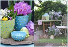 Funky flower pots in pastels work well in the garden when teamed with flowers in soft hues...