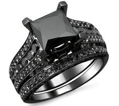 Black gold wedding set with 2ct princess cut center, and round diamonds on the sides.  Http://fredbennettcreations.com