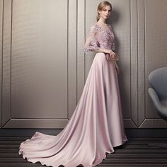 Modern / Fashion Candy Pink Pierced Evening Dresses 2018 A-Line / Princess Scoop Neck Sleeves Appliques Lace Sequins Beading Cathedral Train Ruffle Backless Formal Dresses Modern / Fashion Candy Pink Pierced Evening Dresses 2018 A-Line / Princess Scoop Glamorous Evening Dresses, Grey Evening Dresses, Burgundy Evening Dress, Pretty Dresses, Beautiful Dresses, Rose Gown, Rose Bonbon, Mode Rose, Gala Dresses