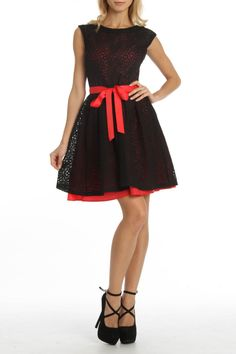 Oh wait now I'm torn... Sooo cute!    Amelia Lace Dress In Black And Ruby - Beyond the Rack