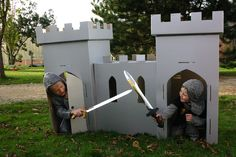 upcycle cardboard boxes into an awesome playhouse