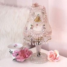 Light up your life with this adorable lamp! It comes with a hand embellished shade featuring lace trim, crystal fringe, miniature flowers and a little gold cherub. This clip shade comes on a faux crystal base. Would be darling on a vanity table. Uno Lamp Shades, Pleated Lamp Shades, Linen Lamp Shades, Shabby Chic Lighting, Shabby Chic Lamp Shades, Rustic Lamp Shades, Vintage Lighting, Shabby Chic Antiques, Shabby Vintage