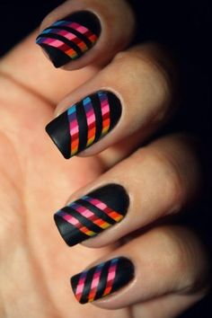 Cool nails. Here's the instructions:  Grab 8 nail art lacquer.  Paint 8 straight lines (as seen).  Let dry for 10-12 minutes.  Grab any duct tape.  Cut duct tape into 3 thin lines.  Line up evenly on an angle (as seen).  Grab matte black nail polish (no shine).  Paint over nail stripes and tape.  Wait 15-17 minutes or until dry.  Pull off tape.  Done!! Enjoy